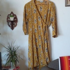 World Market Floral print wrap dress L/XL mustard